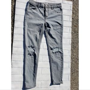 Free People Grey Ripped Skinny Jeans